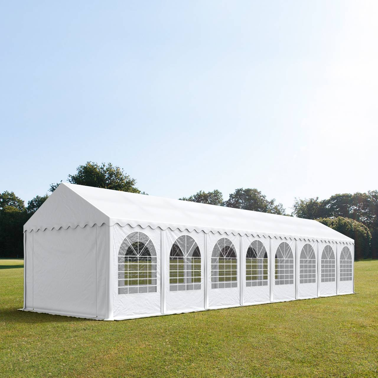 Intent24.fr Tente de réception 4x16m PVC 550 g/m² blanc imperméable barnum, chapiteau