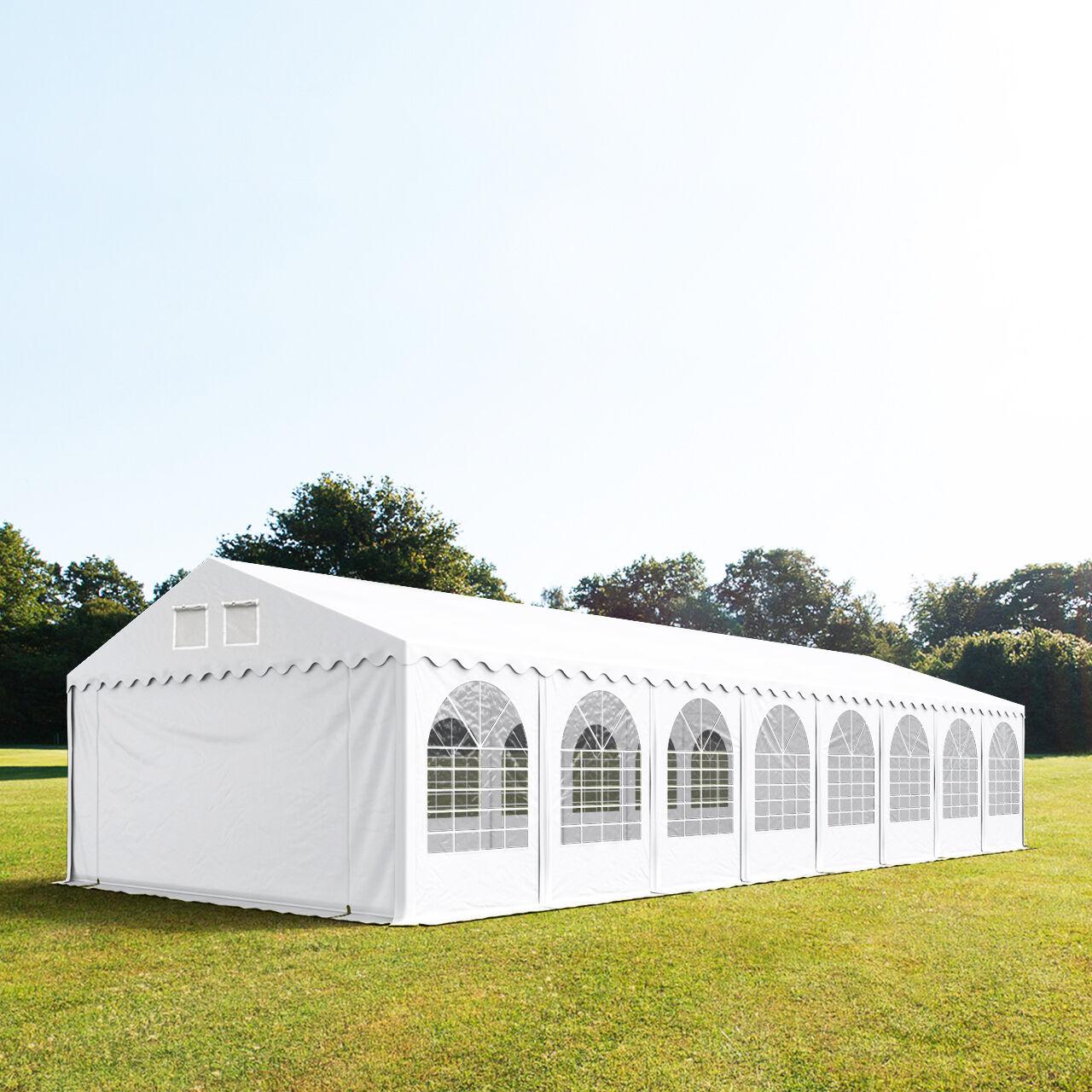 Intent24.fr Tente de réception 5x24m PVC 550 g/m² blanc imperméable barnum, chapiteau