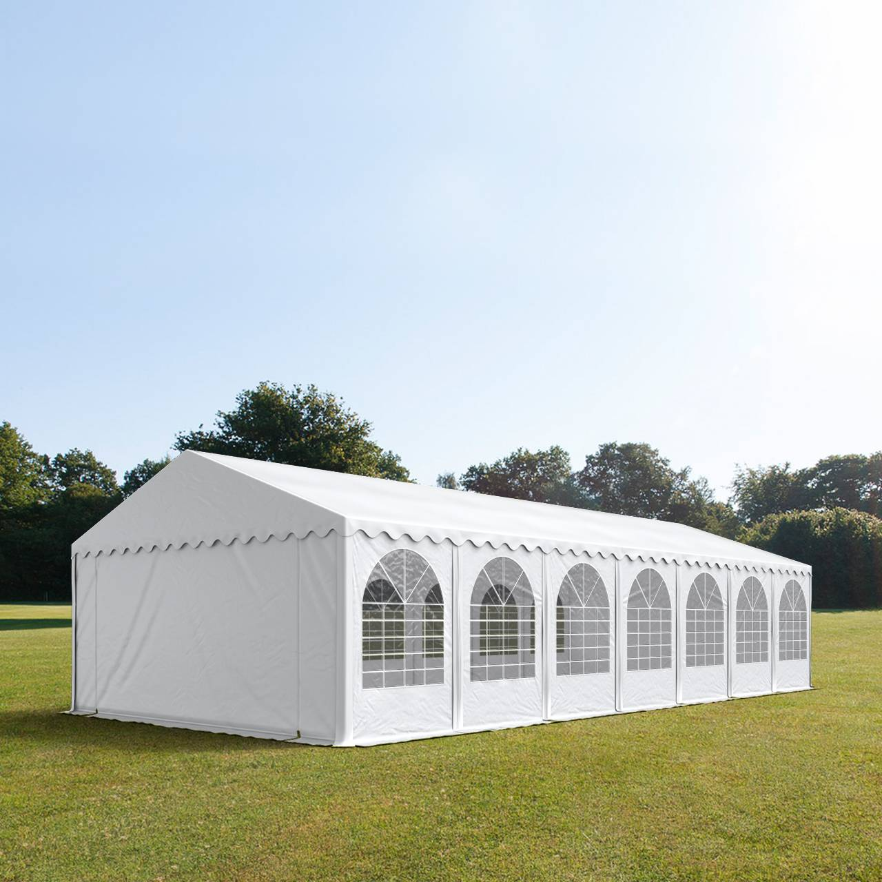 Intent24.fr Tente de réception 5x14m PVC 550 g/m² blanc imperméable barnum, chapiteau