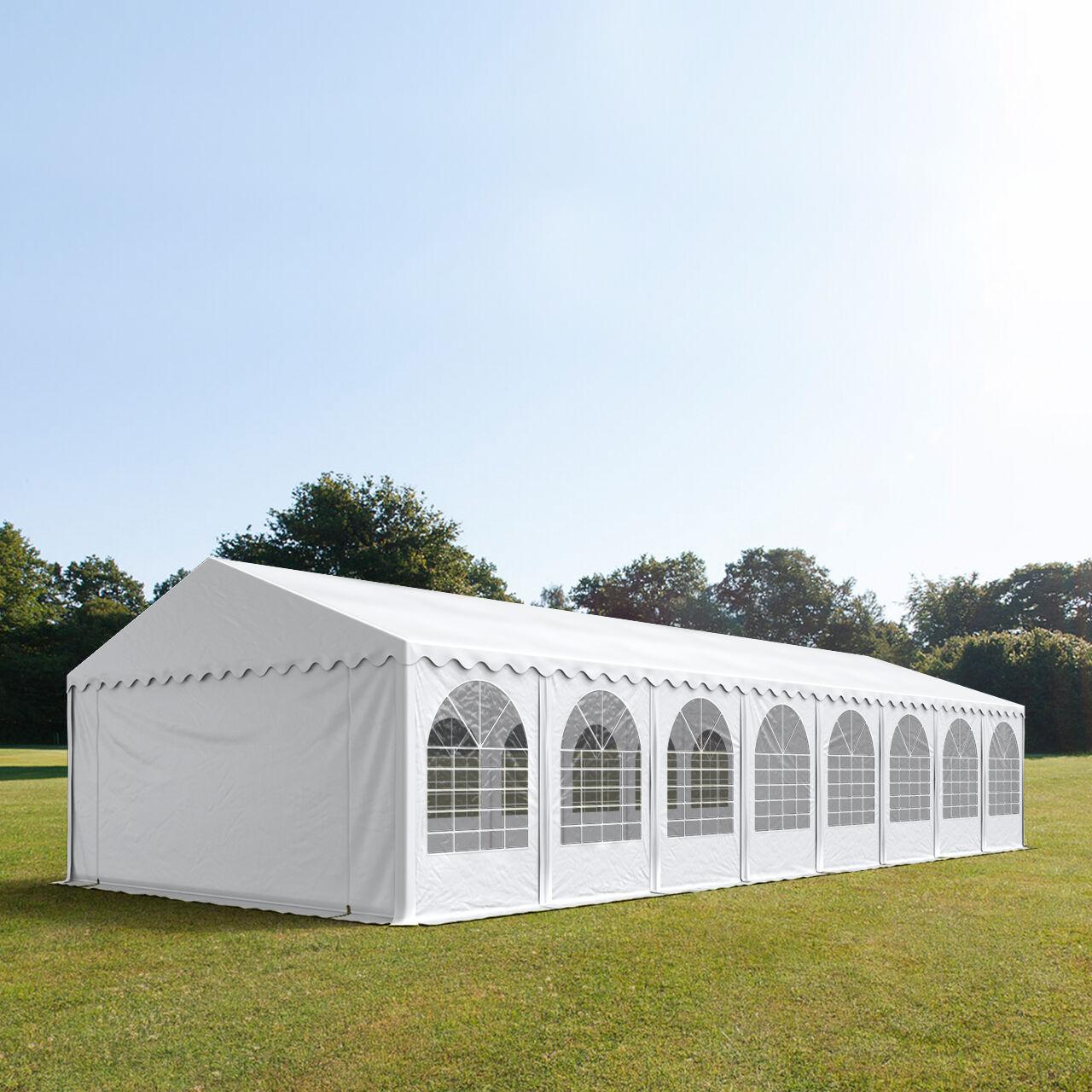 Intent24.fr Tente de réception 5x16m PVC 550 g/m² blanc imperméable barnum, chapiteau