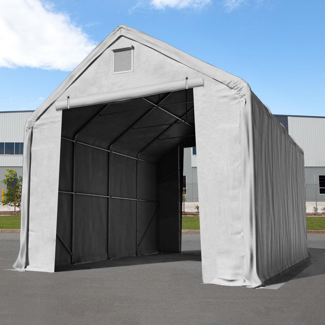 Intent24.fr Hall de stockage 5x8m PVC 720 g/m² Gris imperméable hangar en kit