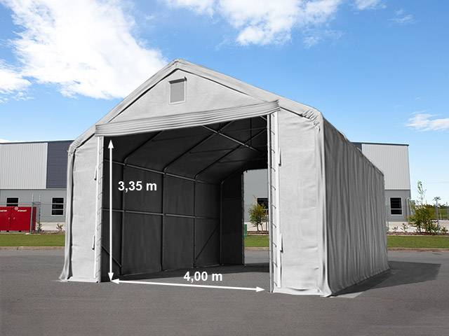 Intent24.fr Hall de stockage 6x12m PVC 720 g/m² Gris imperméable hangar en kit