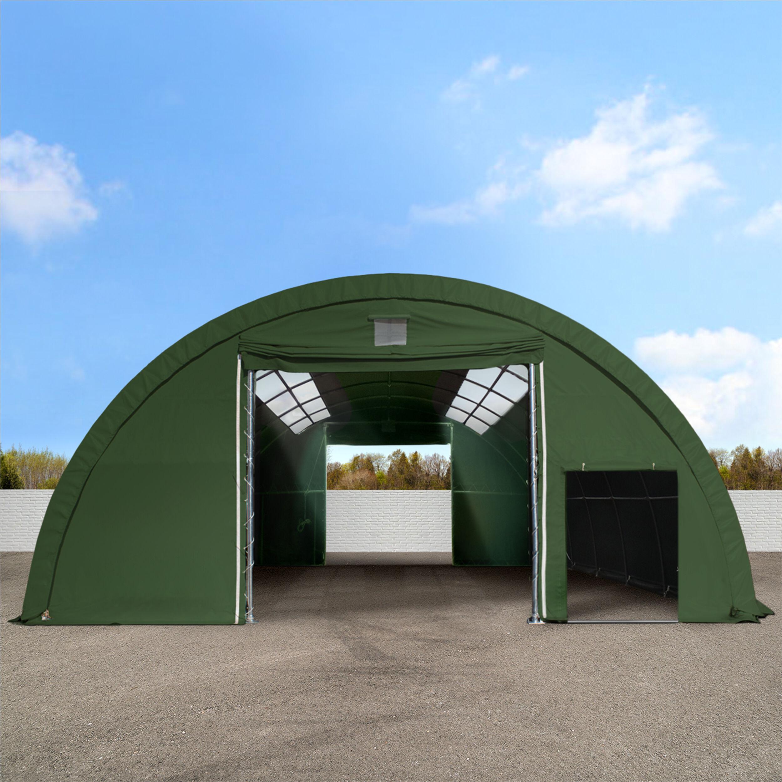 Intent24.fr Tunnel de stockage 9,15x12m PVC 720 g/m2 vert imperméable tunnel agricole