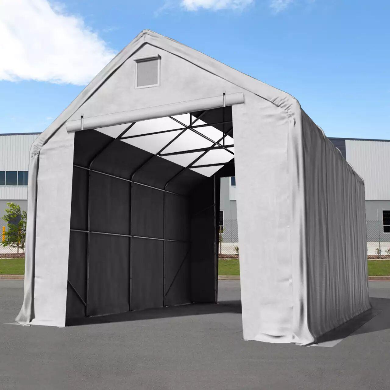 Intent24.fr Hall de stockage 5x10m PVC 720 g/m² Gris imperméable hangar en kit
