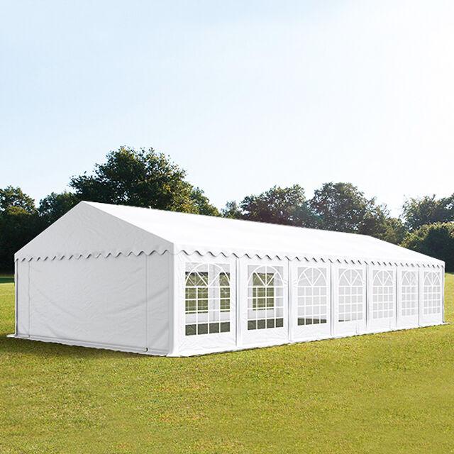 Intent24.fr Tente de réception 6x14m PVC 500 g/m² blanc imperméable barnum, chapiteau