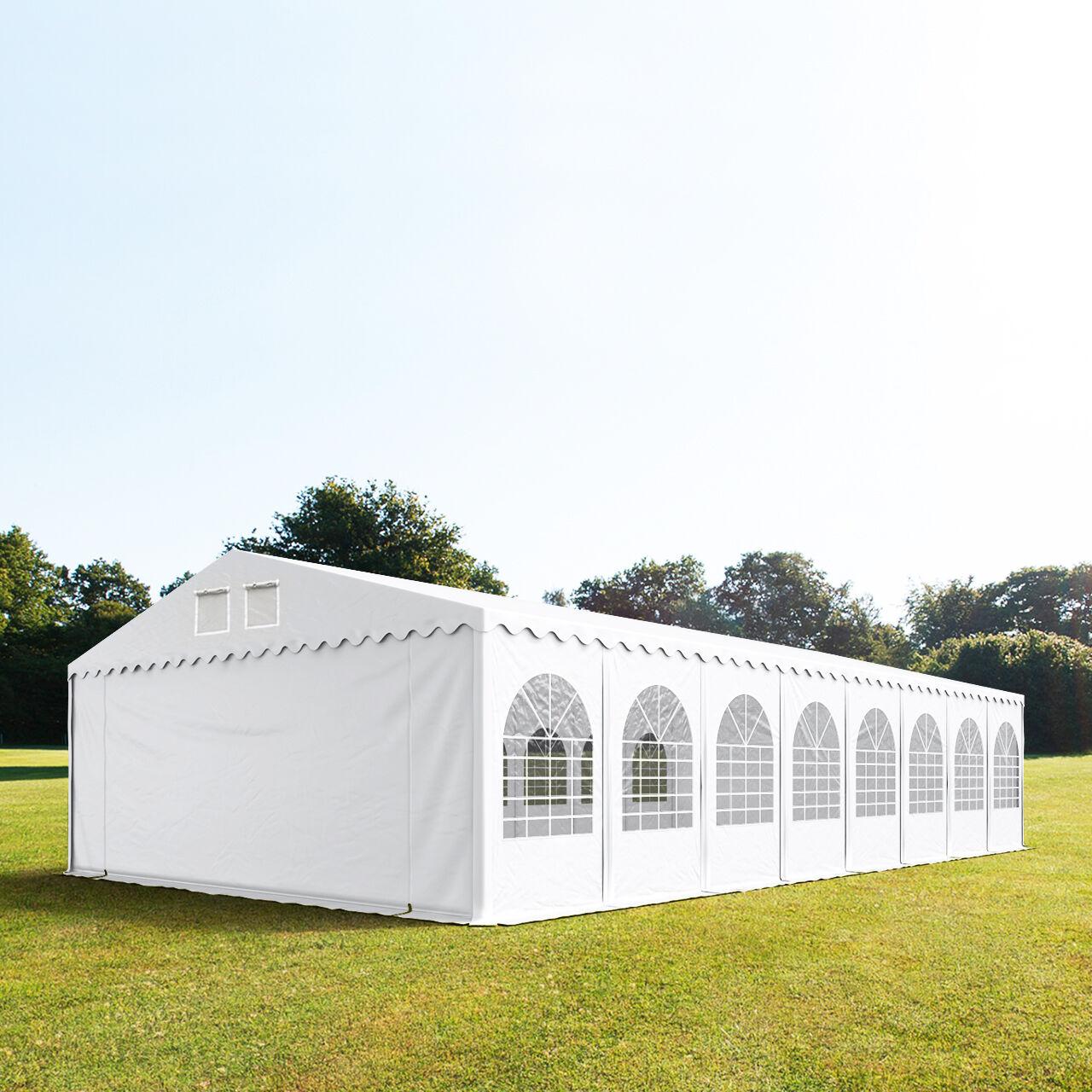 Intent24.fr Tente de réception 8x16m PVC 550 g/m² blanc imperméable barnum, chapiteau