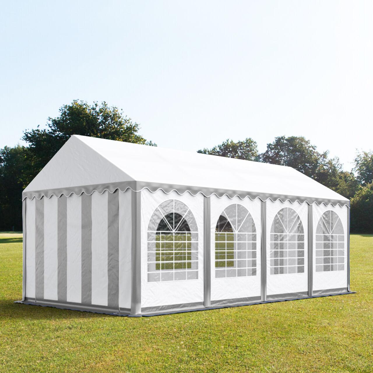 Intent24.fr Tente de réception 4x8m PVC 550 g/m² gris imperméable barnum, chapiteau