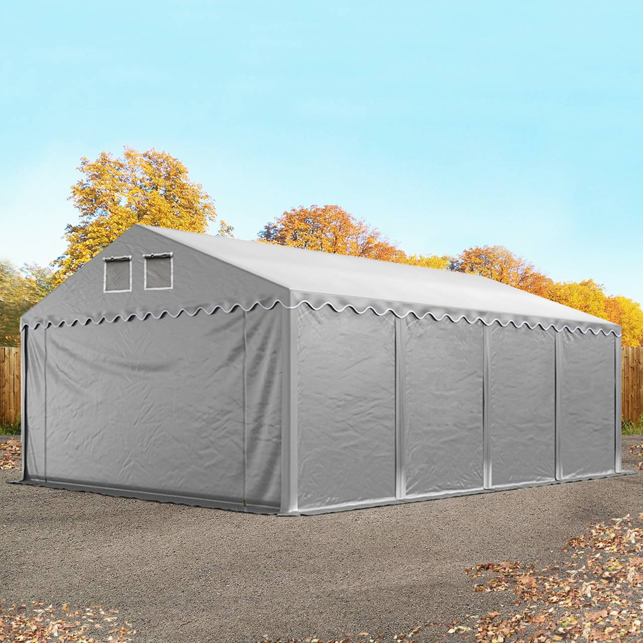 Intent24.fr Tente de stockage 5x8m PVC 550 g/m² Gris imperméable hangar PVC