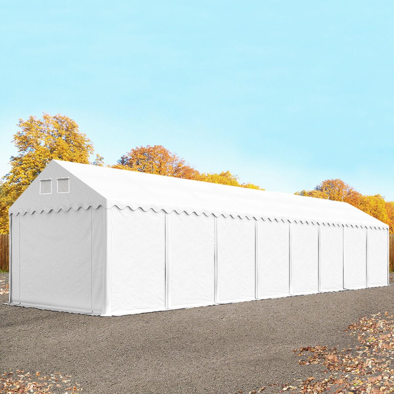 Intent24.fr Tente de stockage 4x18m PVC 550 g/m² blanc imperméable hangar PVC