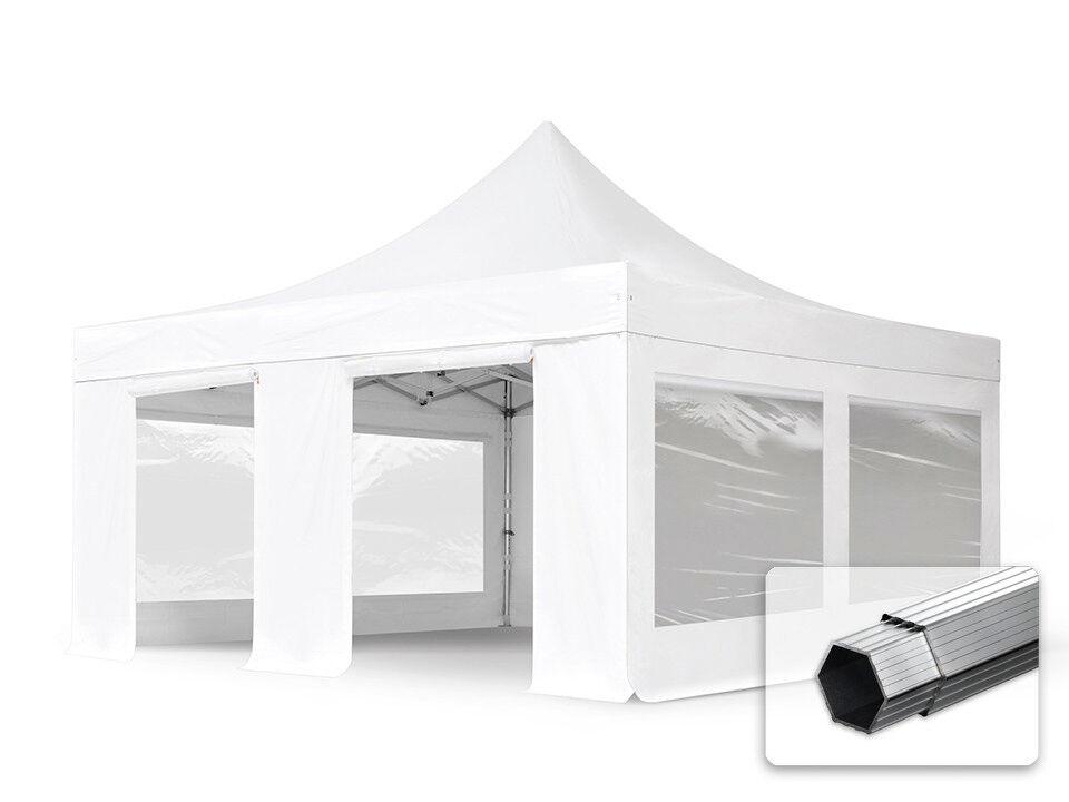 Intent24.fr Tente pliante 5x5m Long-Life PVC 620 g/m² blanc imperméable barnum pliant, tonnelle pliante