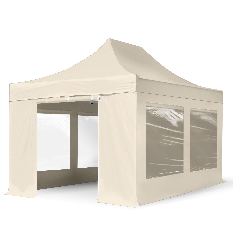 Intent24.fr Tente pliante 3x4,5m Polyester haute qualité 350 g/m² crème imperméable barnum pliant, tonnelle pliante