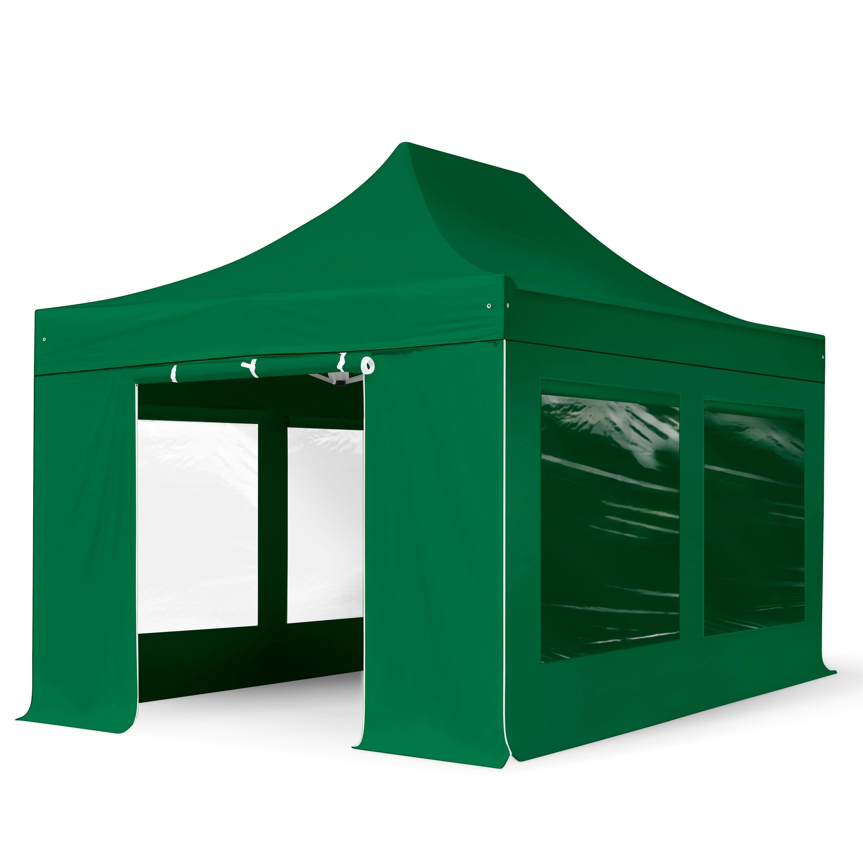 Intent24.fr Tente pliante 3x4,5m Polyester haute qualité 350 g/m² vert imperméable barnum pliant, tonnelle pliante