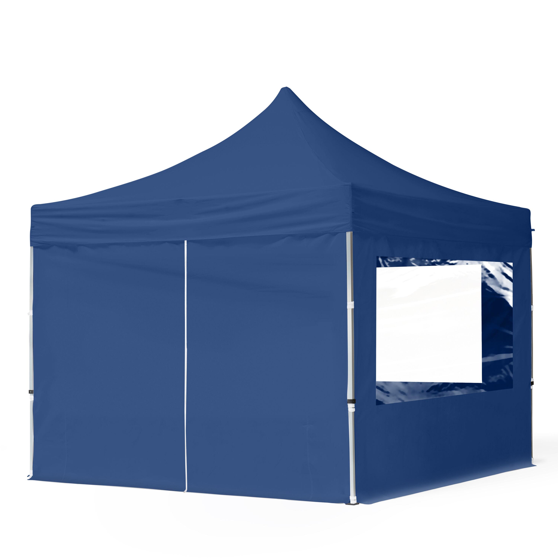 Intent24.fr Tente pliante 3x3m Polyester haute qualité 300 g/m² bleu imperméable barnum pliant, tonnelle pliante