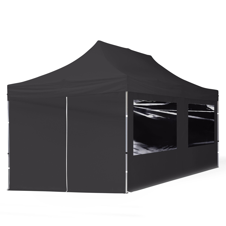 Intent24.fr Tente pliante 3x6m Polyester haute qualité 300 g/m² noir imperméable barnum pliant, tonnelle pliante