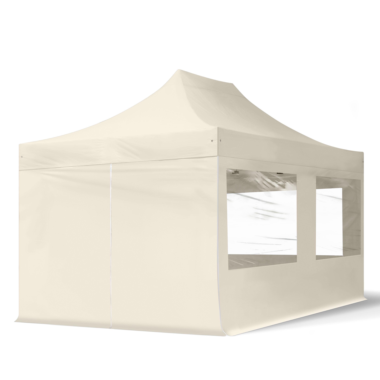 Intent24.fr Tente pliante 3x4,5m Polyester haute qualité 300 g/m² crème imperméable barnum pliant, tonnelle pliante