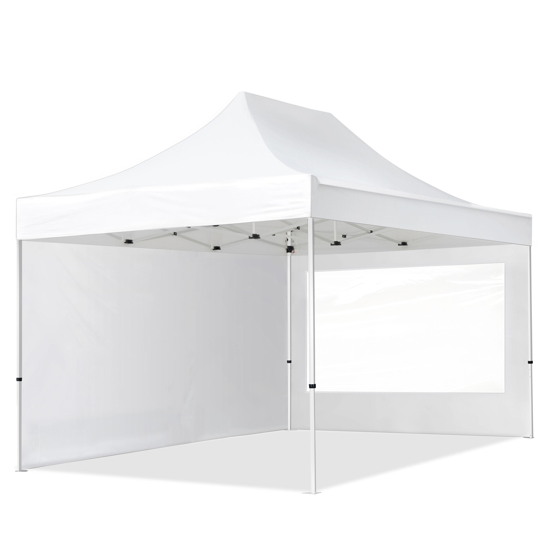 Intent24.fr Tente pliante 3x4,5m Polyester haute qualité 300 g/m² blanc imperméable barnum pliant, tonnelle pliante
