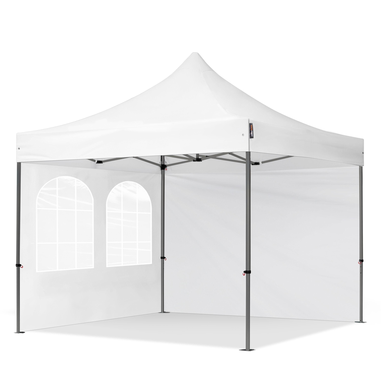 Intent24.fr Tente pliante 3x3m Polyester haute qualité 350 g/m² blanc imperméable barnum pliant, tonnelle pliante