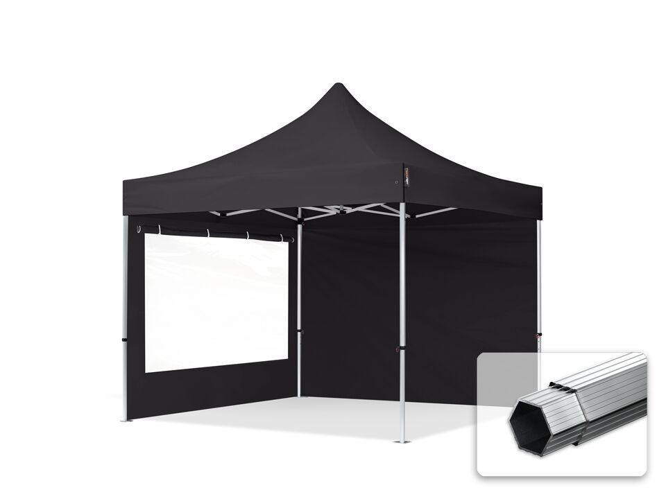 Intent24.fr Tente pliante 3x3m Polyester haute qualité 400 g/m² noir imperméable barnum pliant, tonnelle pliante