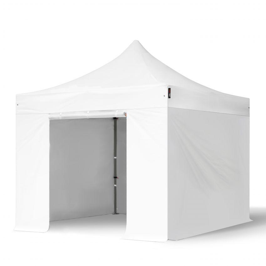 Intent24.fr Tente pliante 3x3m Long-Life PVC 520 g/m² blanc imperméable barnum pliant, tonnelle pliante