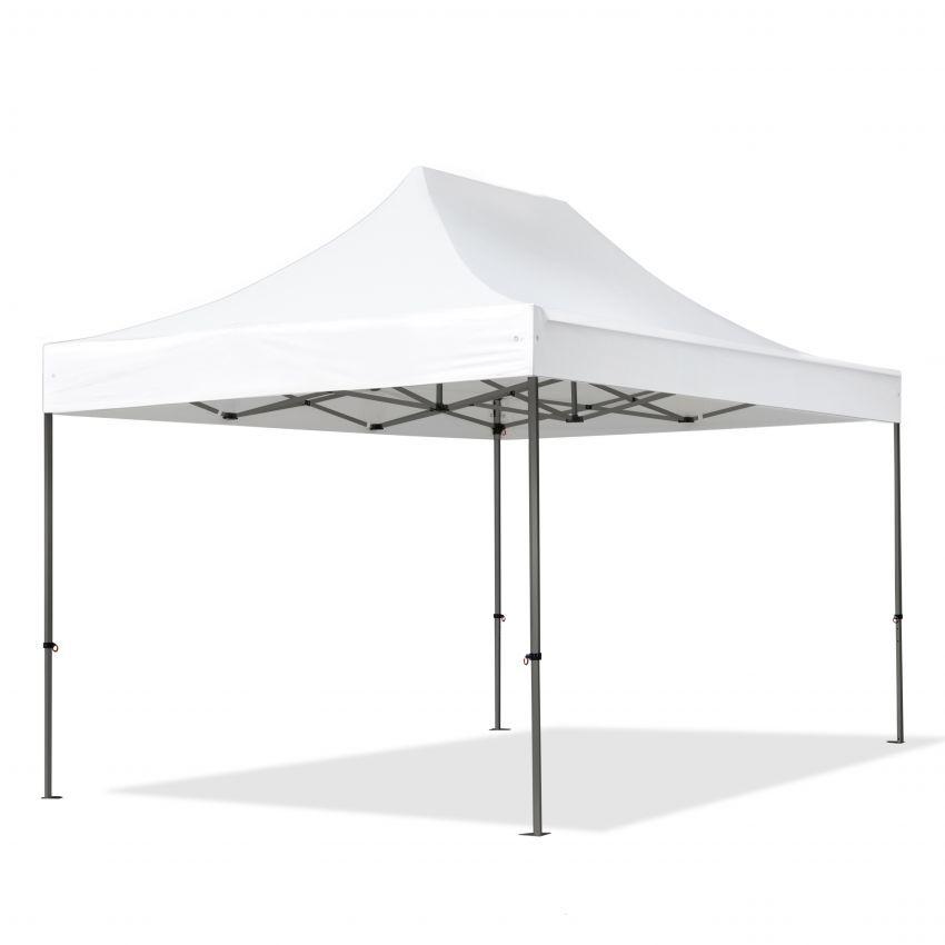 Intent24.fr Tente pliante 3x4,5m Long-Life PVC 520 g/m² blanc imperméable barnum pliant, tonnelle pliante