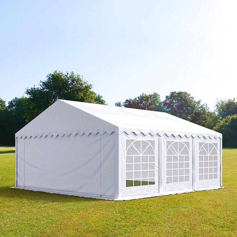 Intent24.fr Tente de réception 5x6m PVC 500 g/m² blanc imperméable barnum, chapiteau