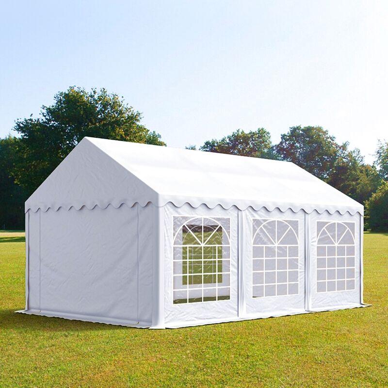 Intent24.fr Tente de réception 4x6m PVC 500 g/m² blanc imperméable barnum, chapiteau