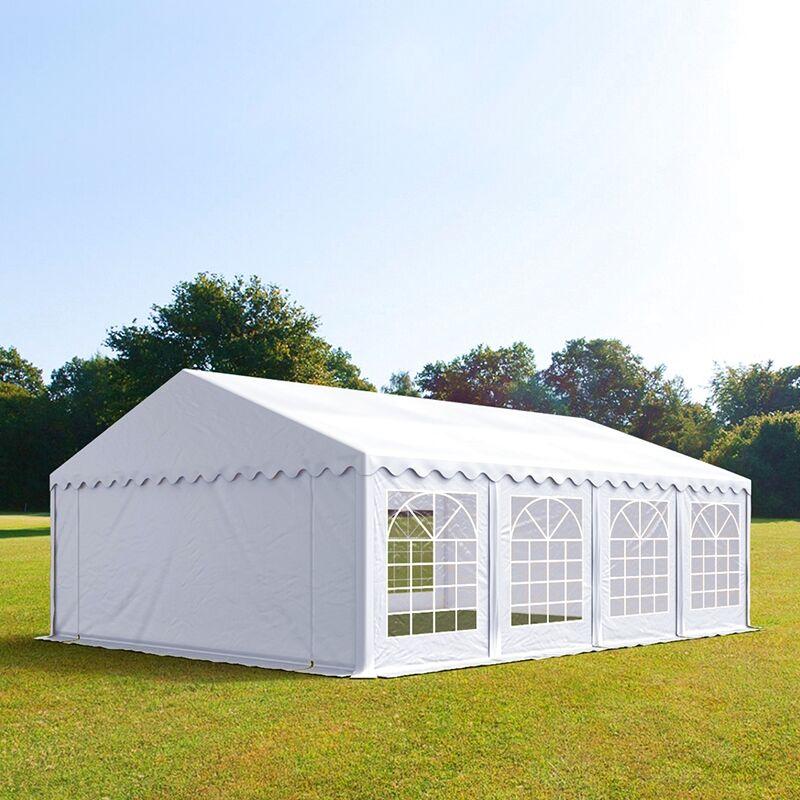 Intent24.fr Tente de réception 5x8m PVC 500 g/m² blanc imperméable barnum, chapiteau
