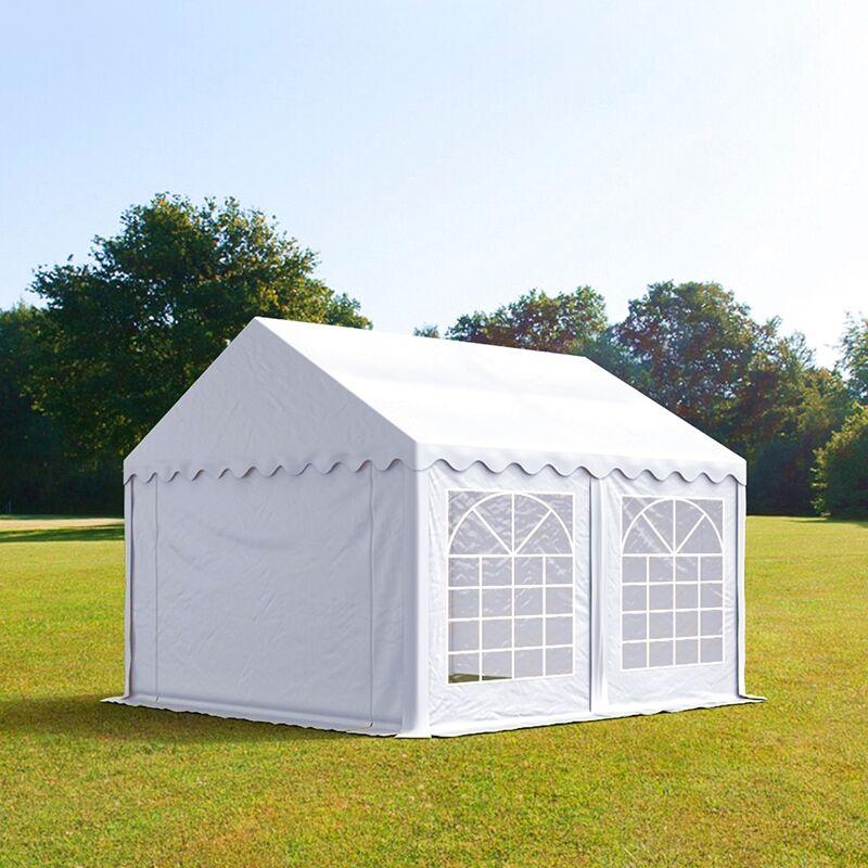 Intent24.fr Tente de réception 3x3m PVC 500 g/m² blanc imperméable barnum, chapiteau