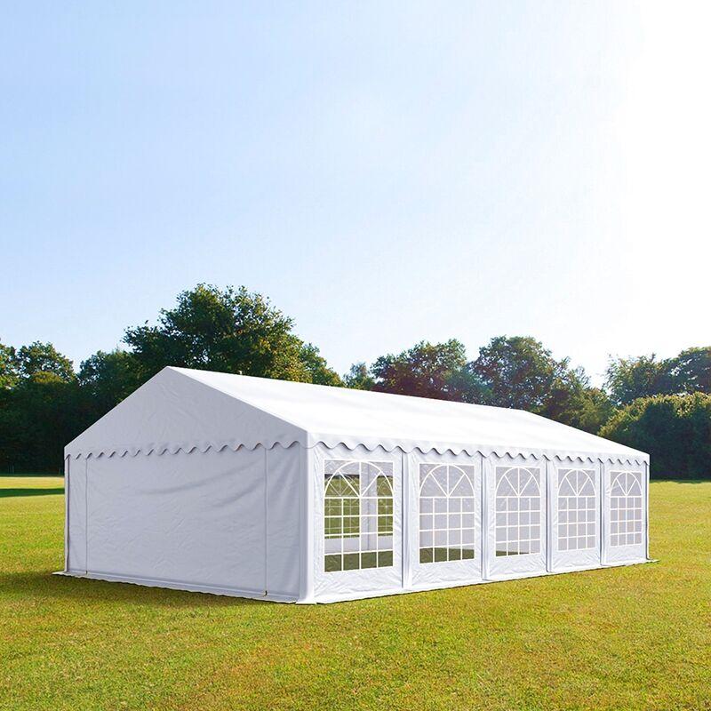 Intent24.fr Tente de réception 5x10m PVC 500 g/m² blanc imperméable barnum, chapiteau