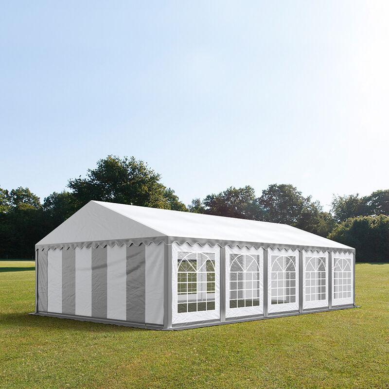 Intent24.fr Tente de réception 5x10m PVC 500 g/m² gris imperméable barnum, chapiteau