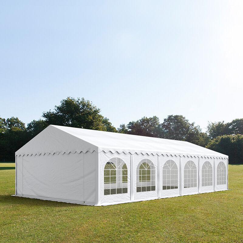 Intent24.fr Tente de réception 5x12m PVC 500 g/m² blanc imperméable barnum, chapiteau