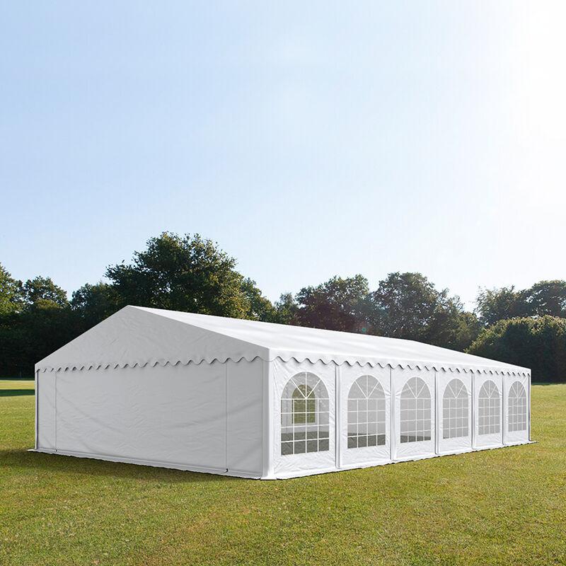 Intent24.fr Tente de réception 8x12m PVC 500 g/m² blanc imperméable barnum, chapiteau