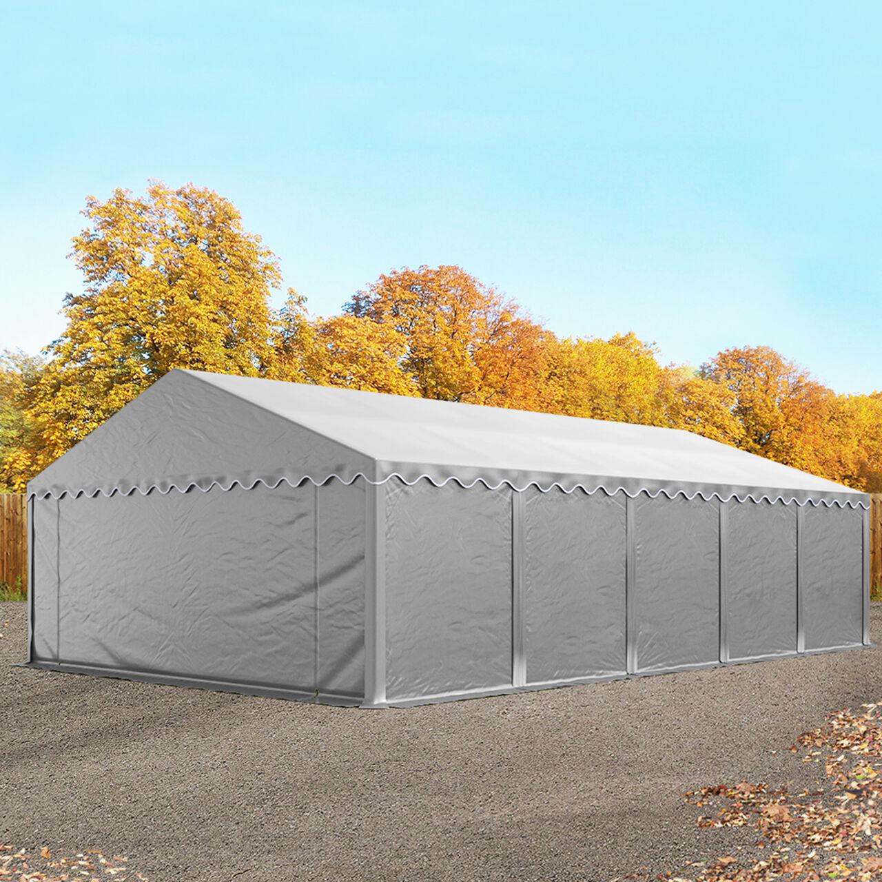 Intent24.fr Tente de stockage 5x10m PVC 500 g/m² Gris imperméable hangar PVC