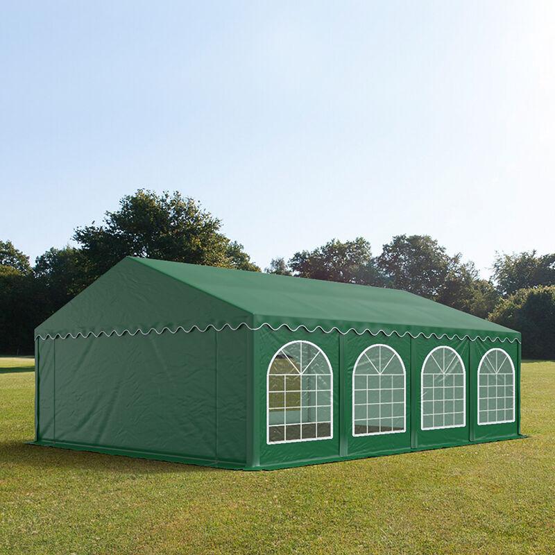 Intent24.fr Tente de réception 5x8m PVC 500 g/m² vert imperméable barnum, chapiteau
