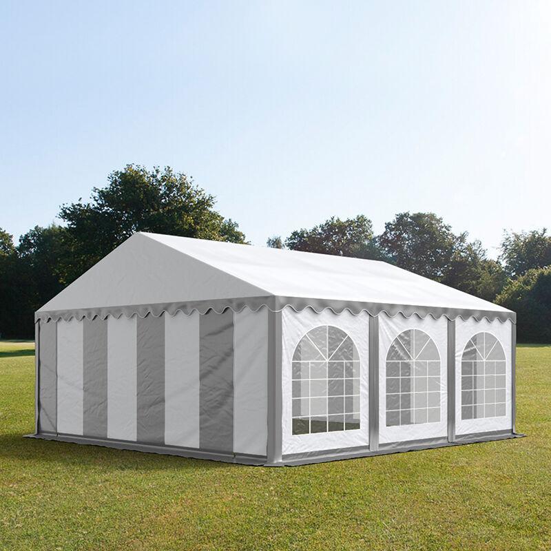 Intent24.fr Tente de réception 5x6m PVC 500 g/m² gris imperméable barnum, chapiteau