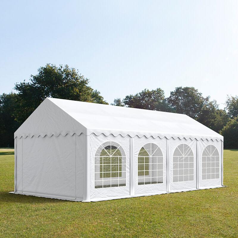 Intent24.fr Tente de réception 4x8m PVC 500 g/m² blanc imperméable barnum, chapiteau