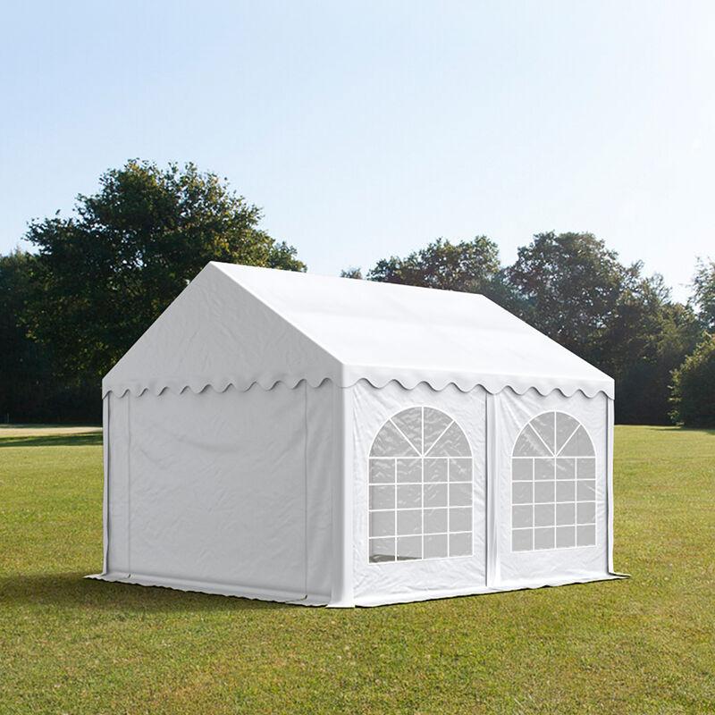 Intent24.fr Tente de réception 3x4m PVC 500 g/m² blanc imperméable barnum, chapiteau