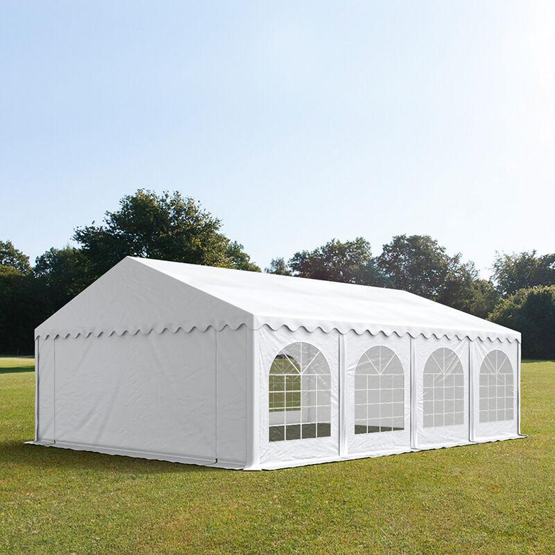 Intent24.fr Tente de réception 6x8m PVC 500 g/m² blanc imperméable barnum, chapiteau