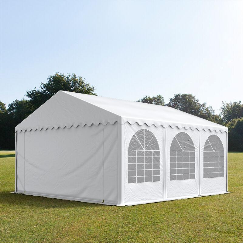 Intent24.fr Tente de réception 5x6m PVC 550 g/m² blanc imperméable barnum, chapiteau