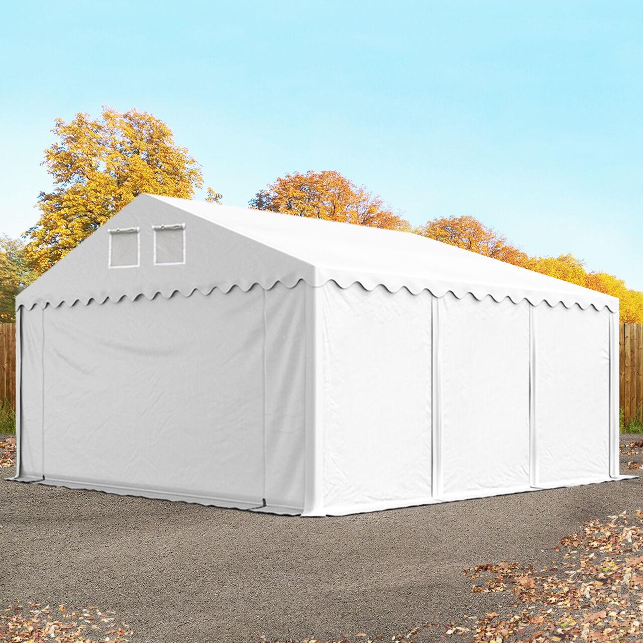 Intent24.fr Tente de stockage 5x6m PVC 550 g/m² blanc imperméable hangar PVC