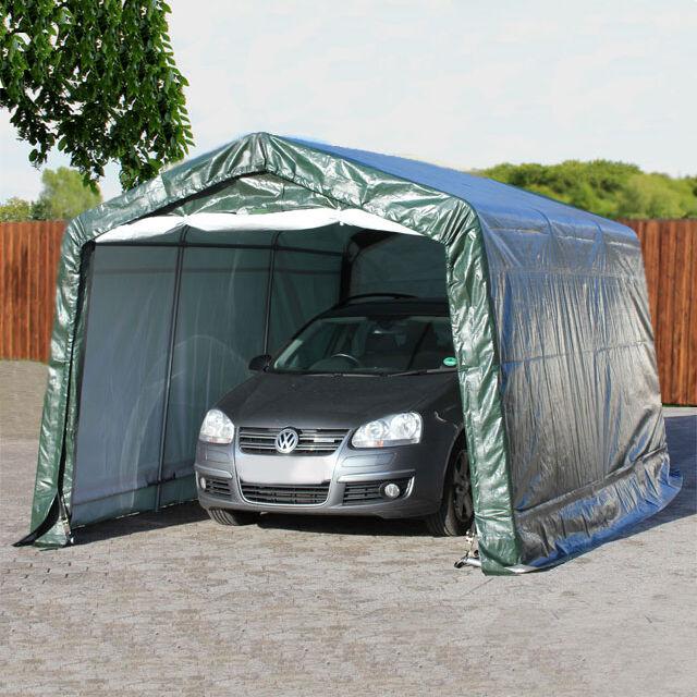 Intent24.fr Tente garage 3,3x4,8m PE 260 g/m² vert imperméable abri PVC