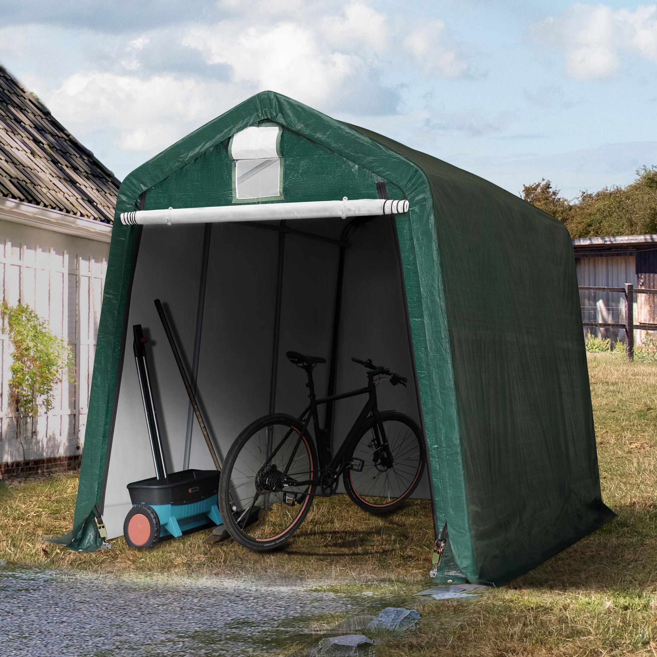 Intent24.fr Tente garage 2,4x3,6m PE 260 g/m² vert imperméable abri PVC