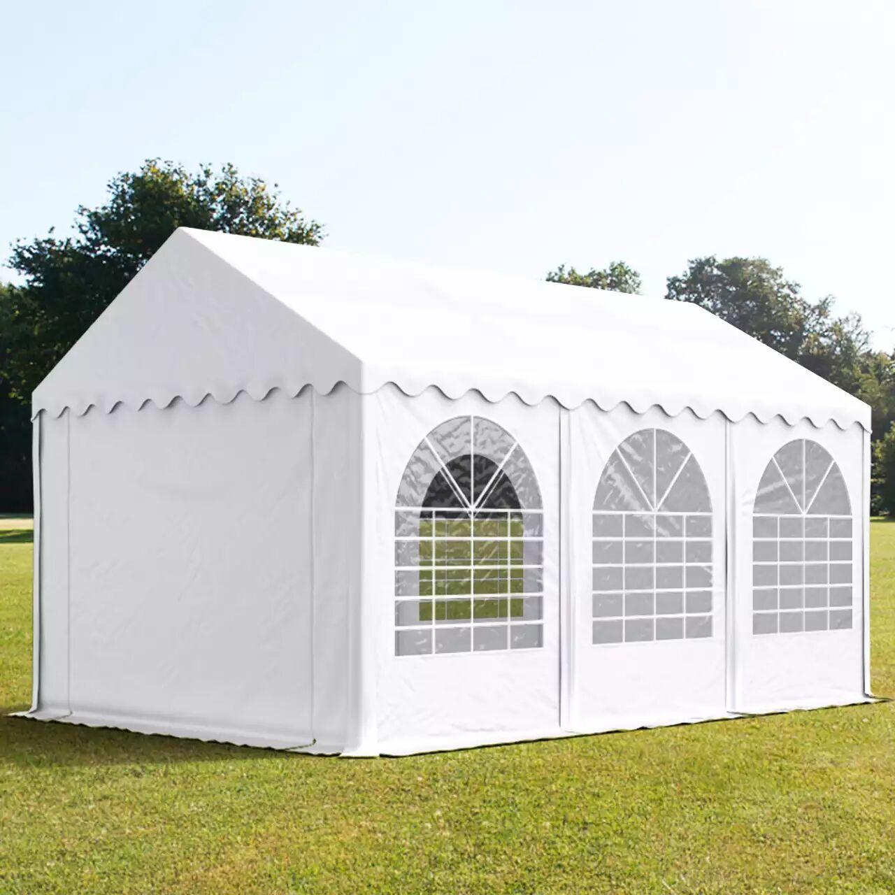 Intent24.fr Tente de réception 4x6m PVC 550 g/m² blanc imperméable barnum, chapiteau