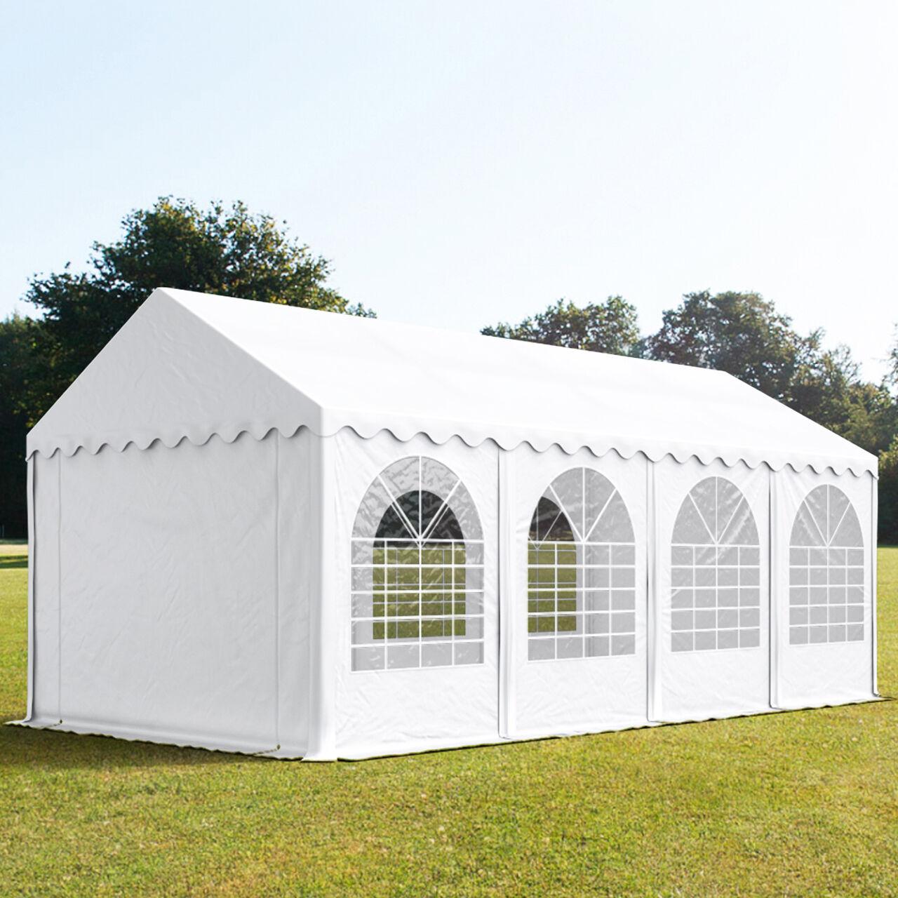 Intent24.fr Tente de réception 4x8m PVC 550 g/m² blanc imperméable barnum, chapiteau