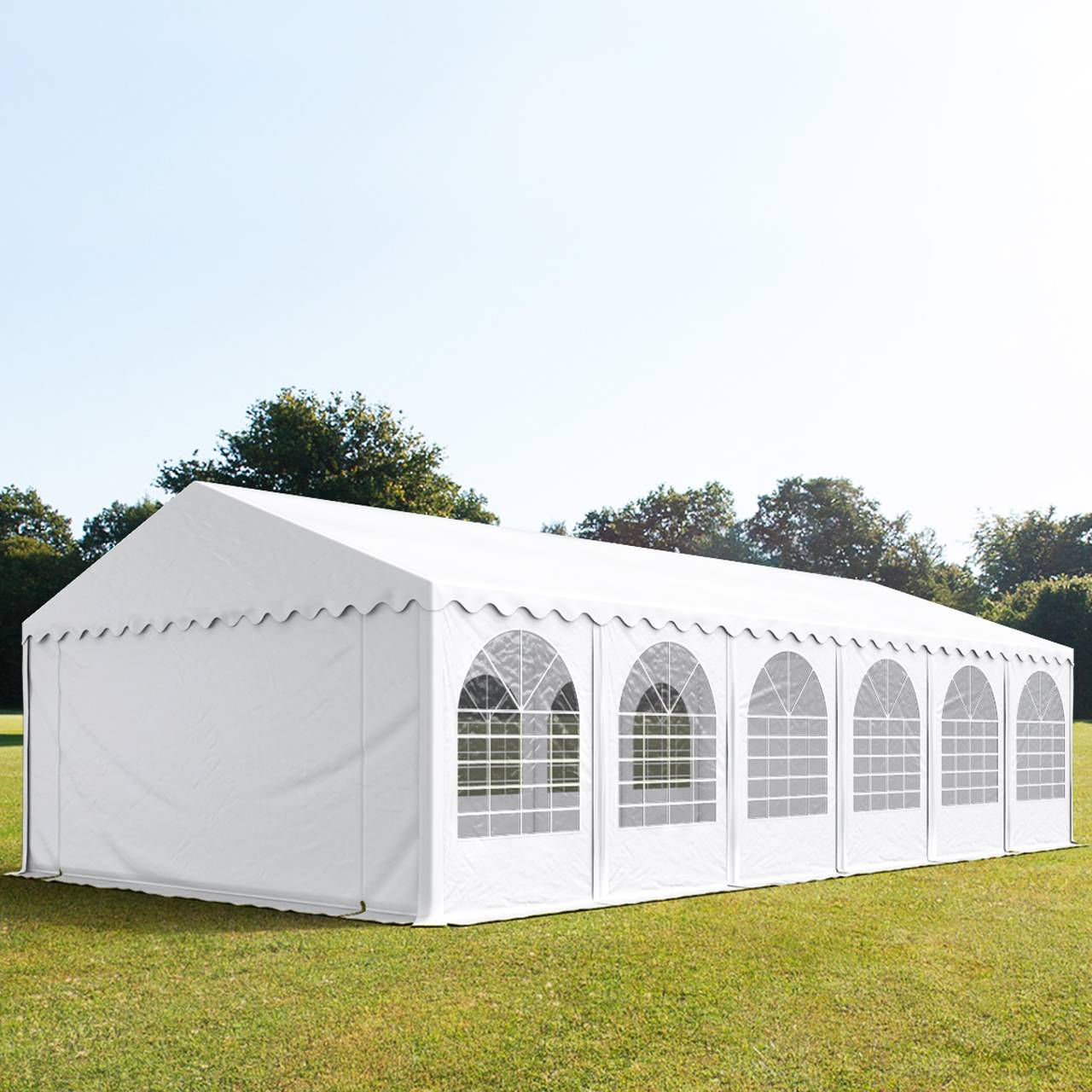 Intent24.fr Tente de réception 6x12m PVC 550 g/m² blanc imperméable barnum, chapiteau
