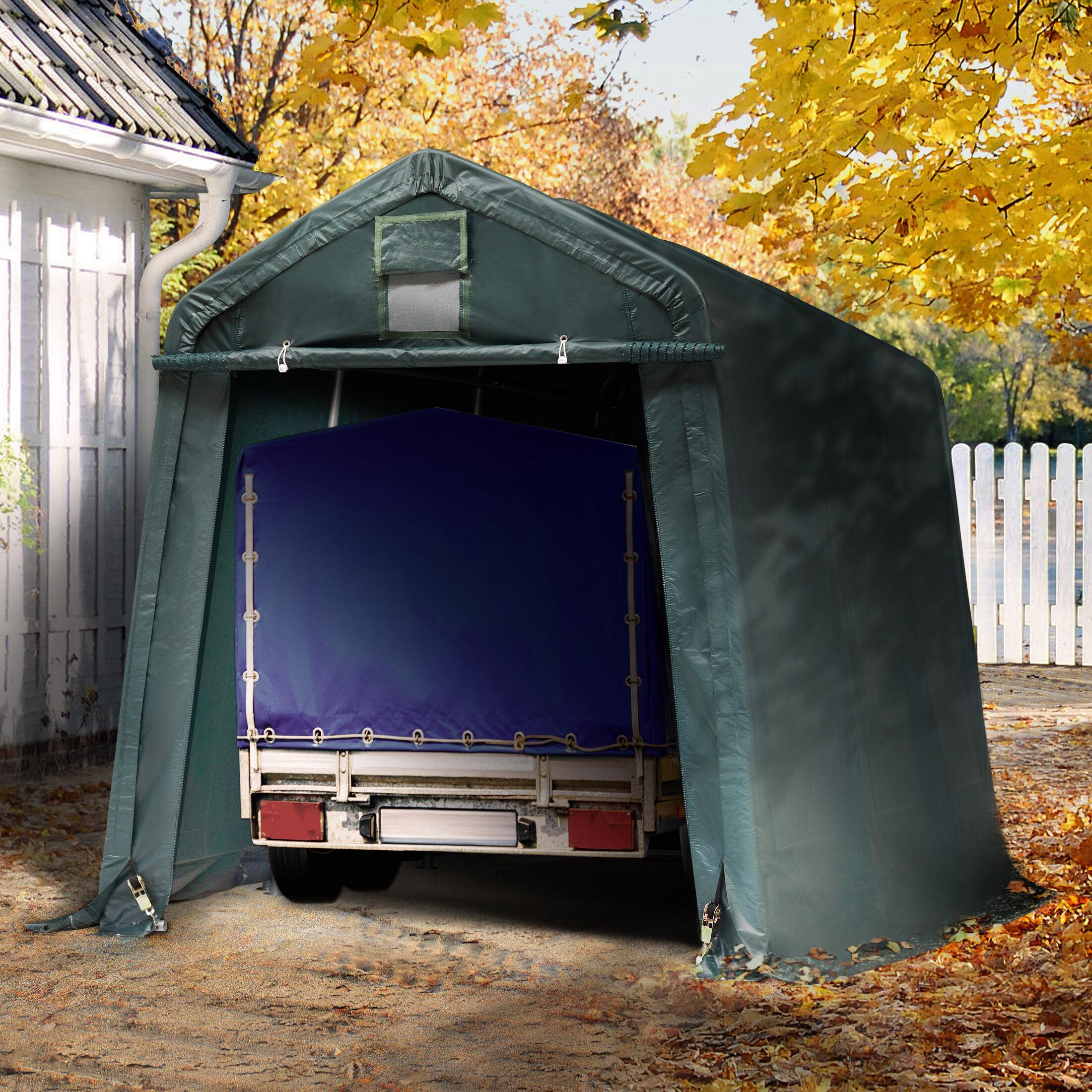 Intent24.fr Tente garage 2,4x3,6m PVC 500 g/m² vert imperméable abri PVC