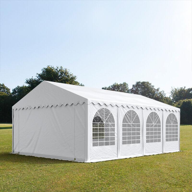 Intent24.fr Tente de réception 5x8m PVC 550 g/m² blanc imperméable barnum, chapiteau