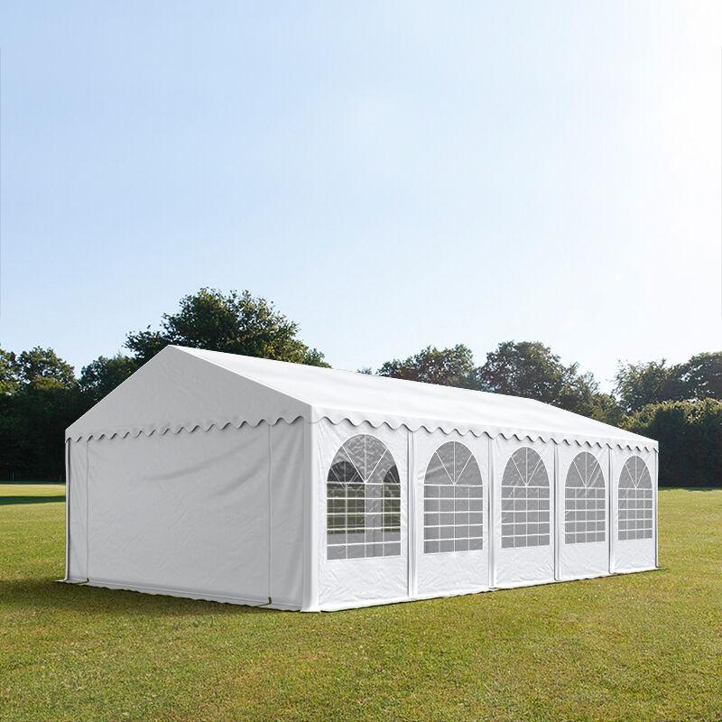 Intent24.fr Tente de réception 5x10m PVC 550 g/m² blanc imperméable barnum, chapiteau
