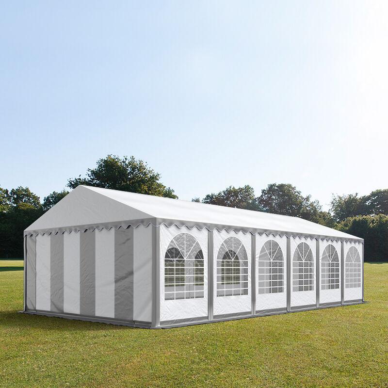Intent24.fr Tente de réception 6x12m PVC 550 g/m² gris imperméable barnum, chapiteau