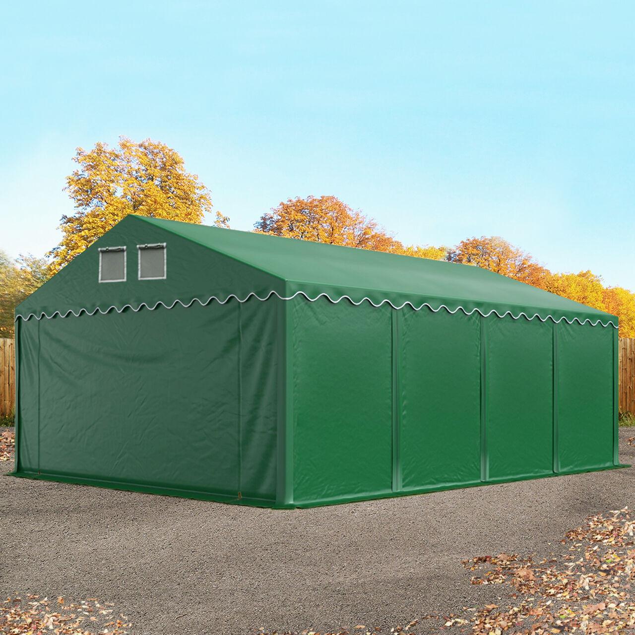 Intent24.fr Tente de stockage 5x8m PVC 550 g/m² vert imperméable hangar PVC